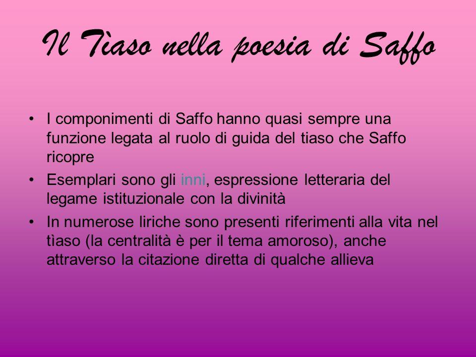 Il Tìaso nella poesia di Saffo I componimenti di Saffo hanno quasi sempre una funzione legata al ruolo di guida del tiaso che Saffo ricopre Esemplari