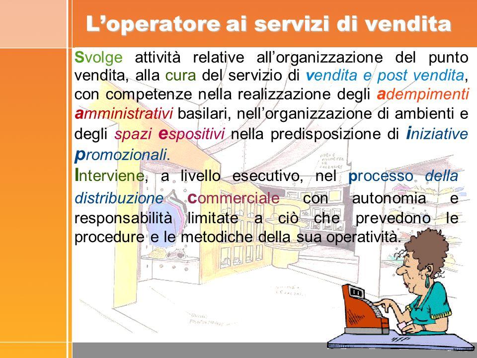 Loperatore ai servizi di vendita I nterviene, a livello esecutivo, nel processo della distribuzione c ommerciale con autonomia e responsabilità limitate a ciò che prevedono le procedure e le metodiche della sua operatività.