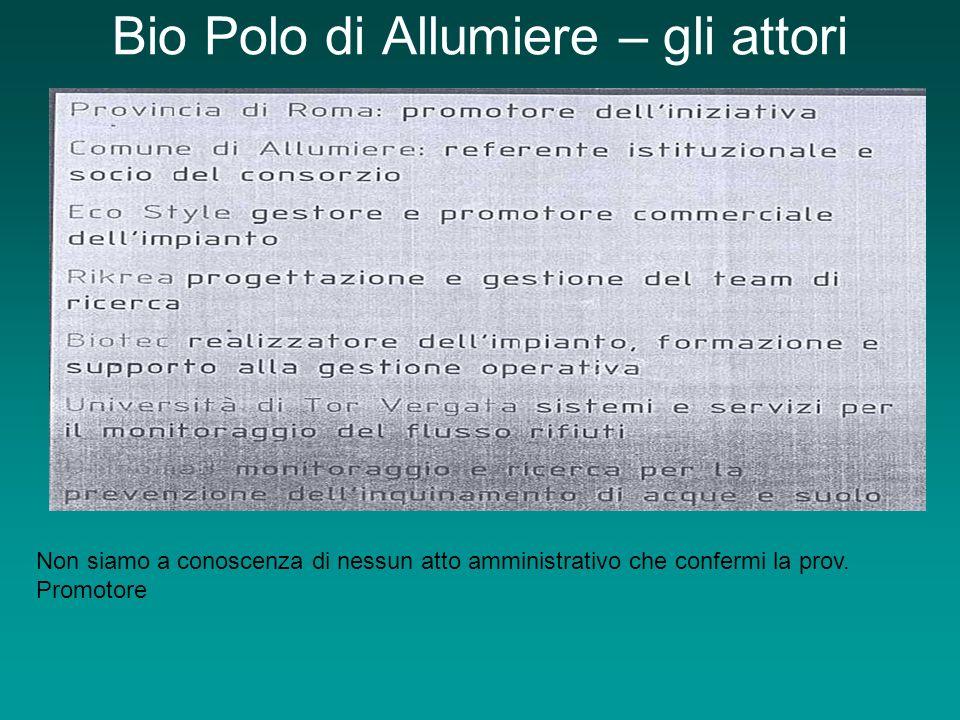 Bio Polo di Allumiere – gli attori Non siamo a conoscenza di nessun atto amministrativo che confermi la prov.