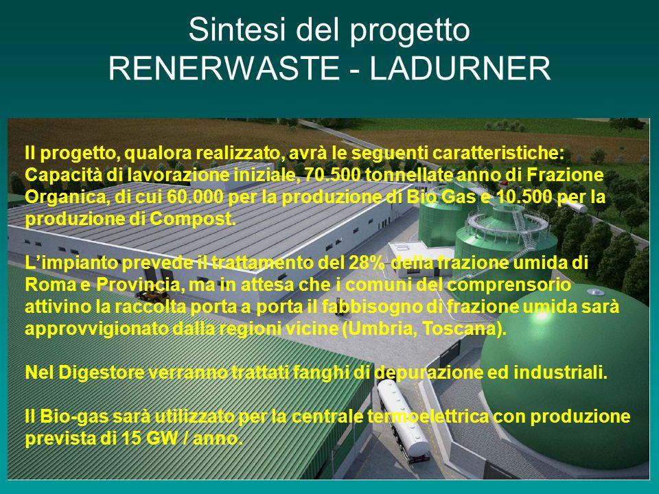 Sintesi del progetto RENERWASTE - LADURNER Il progetto, qualora realizzato, avrà le seguenti caratteristiche: Capacità di lavorazione iniziale, 70.500 tonnellate anno di Frazione Organica, di cui 60.000 per la produzione di Bio Gas e 10.500 per la produzione di Compost.