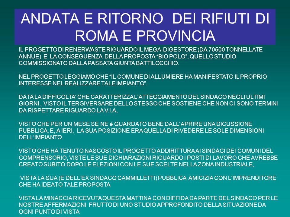 ANDATA E RITORNO DEI RIFIUTI DI ROMA E PROVINCIA IL PROGETTO DI RENERWASTE RIGUARDO IL MEGA-DIGESTORE (DA 70500 TONNELLATE ANNUE) E LA CONSEGUENZA DELLA PROPOSTA BIO POLO, QUELLO STUDIO COMMISSIONATO DALLA PASSATA GIUNTA BATTILOCCHIO.