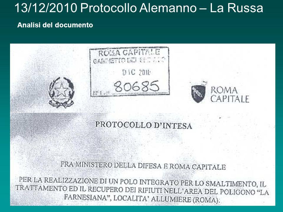 13/12/2010 Protocollo Alemanno – La Russa Analisi del documento