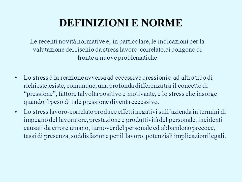 DEFINIZIONI E NORME Lo stress è la reazione avversa ad eccessive pressioni o ad altro tipo di richieste;esiste, comunque, una profonda differenza tra