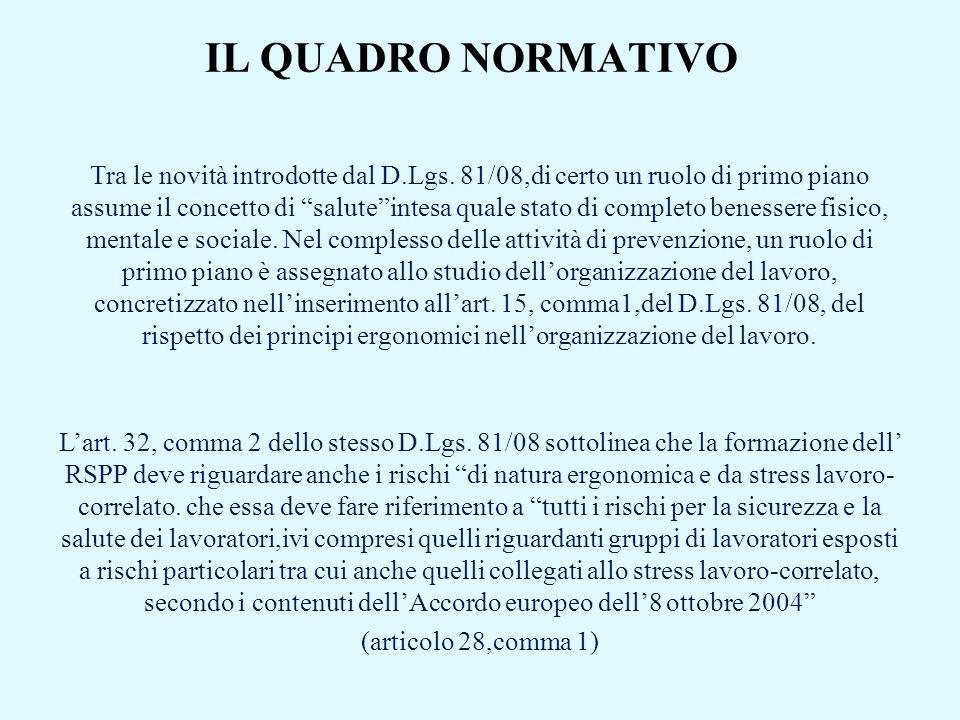 IL QUADRO NORMATIVO Tra le novità introdotte dal D.Lgs. 81/08,di certo un ruolo di primo piano assume il concetto di saluteintesa quale stato di compl