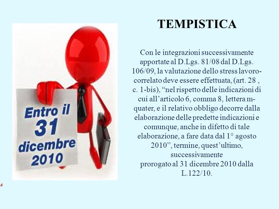 TEMPISTICA Con le integrazioni successivamente apportate al D.Lgs. 81/08 dal D.Lgs. 106/09, la valutazione dello stress lavoro- correlato deve essere