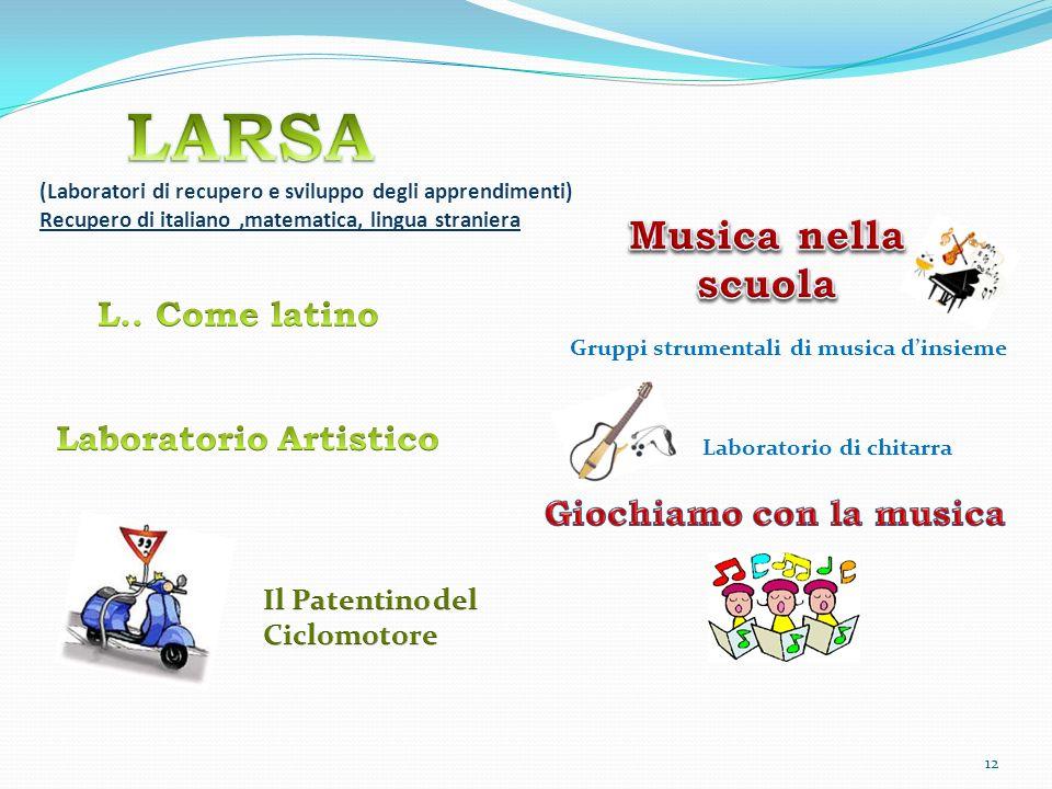 (Laboratori di recupero e sviluppo degli apprendimenti) Recupero di italiano,matematica, lingua straniera Gruppi strumentali di musica dinsieme Laboratorio di chitarra 12