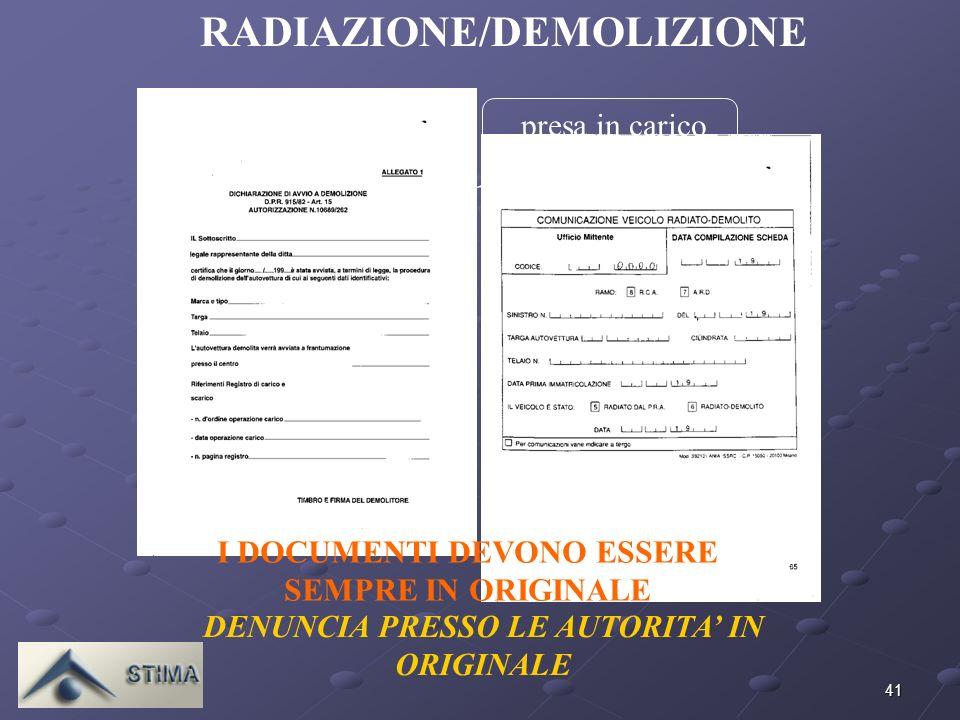 41 I DOCUMENTI DEVONO ESSERE SEMPRE IN ORIGINALE RADIAZIONE/DEMOLIZIONE DENUNCIA PRESSO LE AUTORITA IN ORIGINALE presa in carico