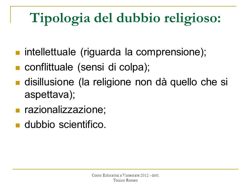 Tipologia del dubbio religioso: intellettuale (riguarda la comprensione); conflittuale (sensi di colpa); disillusione (la religione non dà quello che si aspettava); razionalizzazione; dubbio scientifico.