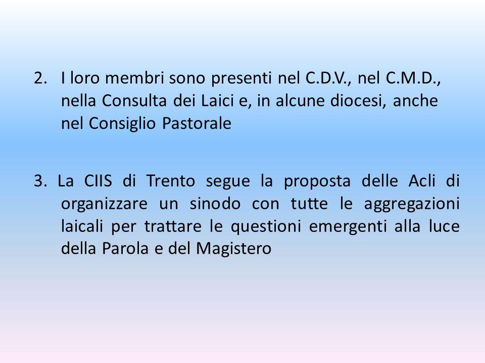 3. La CIIS di Trento segue la proposta delle Acli di organizzare un sinodo con tutte le aggregazioni laicali per trattare le questioni emergenti alla