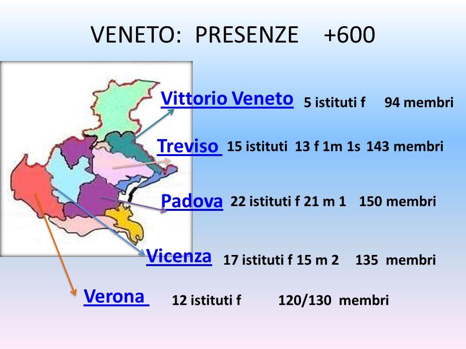 VENETO: PRESENZE +600 Padova Verona Vittorio Veneto Treviso Vicenza 5 istituti f94 membri 15 istituti 13 f 1m 1s143 membri 150 membri 135 membri 120/1