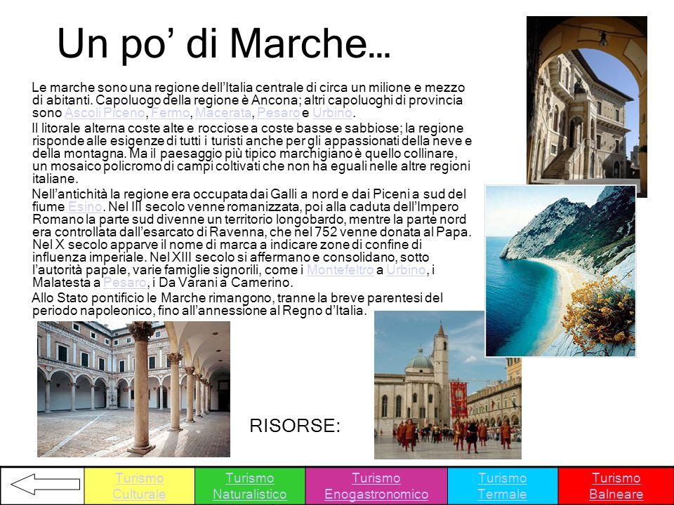 Un po di Marche… Le marche sono una regione dellItalia centrale di circa un milione e mezzo di abitanti. Capoluogo della regione è Ancona; altri capol