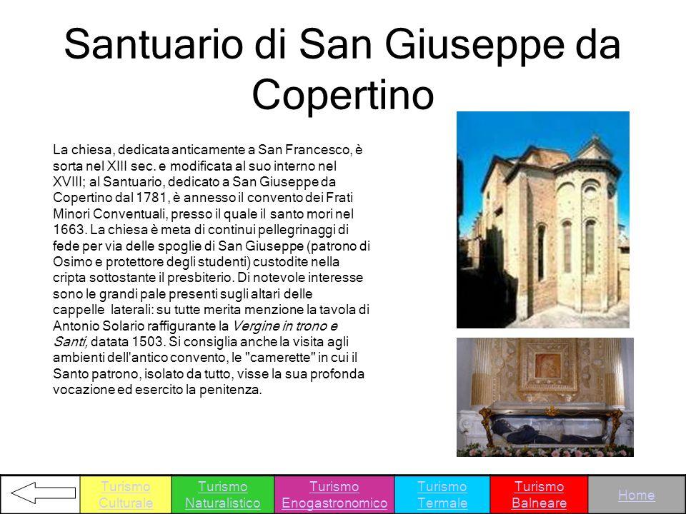 Santuario di San Giuseppe da Copertino La chiesa, dedicata anticamente a San Francesco, è sorta nel XIII sec. e modificata al suo interno nel XVIII; a