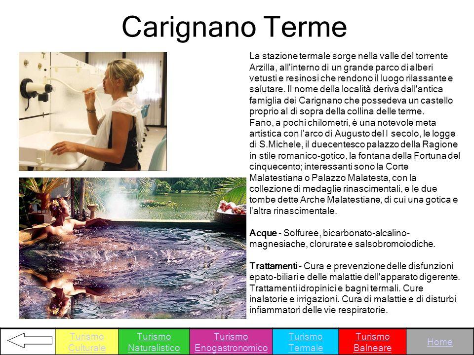 Carignano Terme La stazione termale sorge nella valle del torrente Arzilla, all'interno di un grande parco di alberi vetusti e resinosi che rendono il