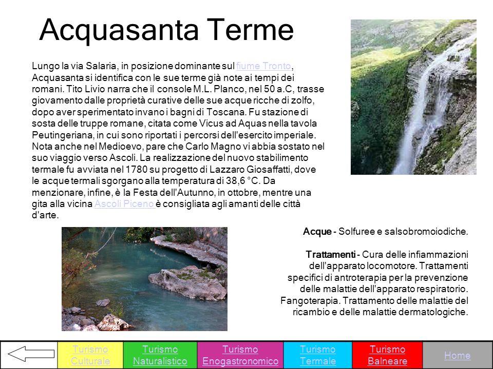 Acquasanta Terme Acque - Solfuree e salsobromoiodiche. Trattamenti - Cura delle infiammazioni dell'apparato locomotore. Trattamenti specifici di antro