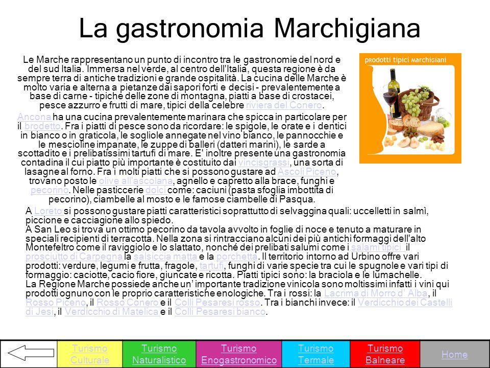 Le Marche rappresentano un punto di incontro tra le gastronomie del nord e del sud Italia. Immersa nel verde, al centro dell'Italia, questa regione è