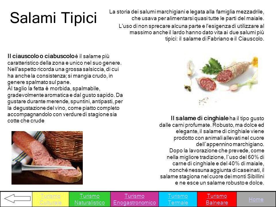 Salami Tipici La storia dei salumi marchigiani e legata alla famiglia mezzadrile, che usava per alimentarsi quasi tutte le parti del maiale. L'uso di