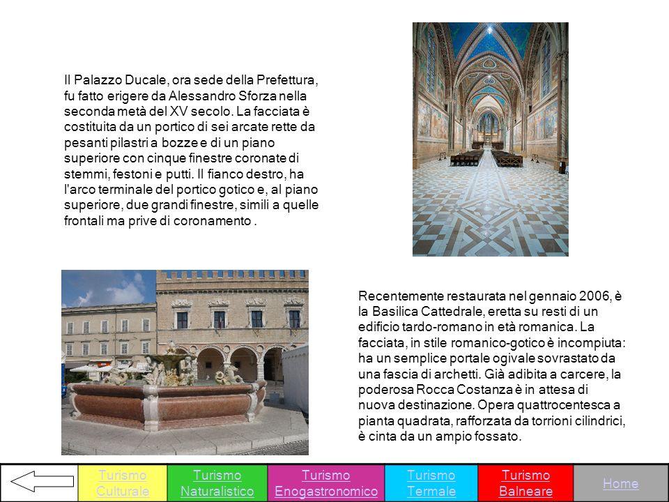 Il Palazzo Ducale, ora sede della Prefettura, fu fatto erigere da Alessandro Sforza nella seconda metà del XV secolo. La facciata è costituita da un p