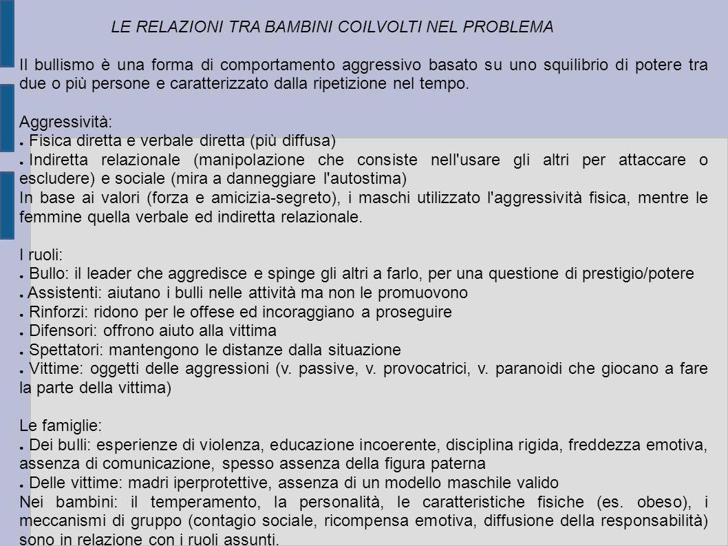 LE RELAZIONI TRA BAMBINI COILVOLTI NEL PROBLEMA Il bullismo è una forma di comportamento aggressivo basato su uno squilibrio di potere tra due o più p
