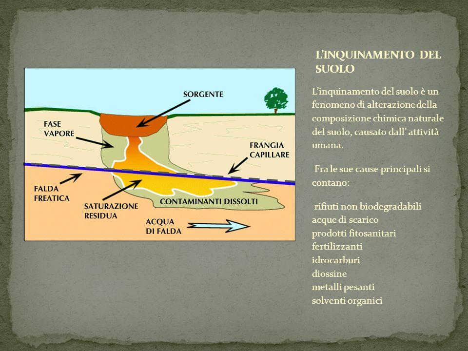 Linquinamento del suolo è un fenomeno di alterazione della composizione chimica naturale del suolo, causato dall attività umana. Fra le sue cause prin
