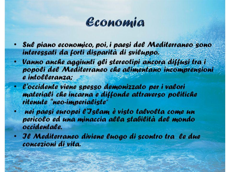 Sul piano economico, poi, i paesi del Mediterraneo sono interessati da forti disparità di sviluppo. Vanno anche aggiunti gli stereotipi ancora diffusi