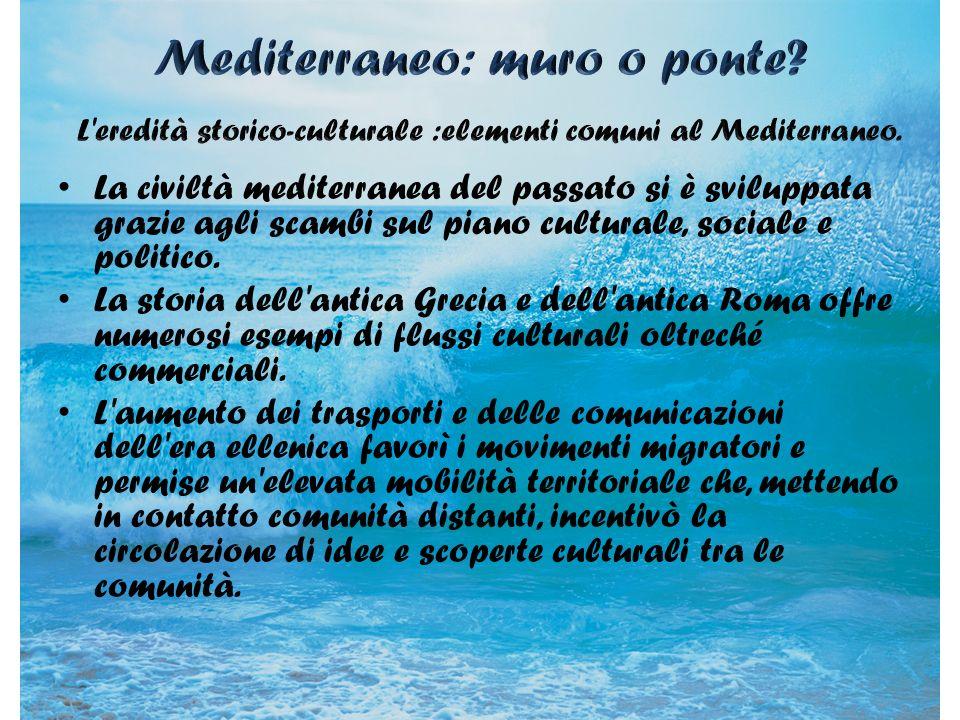 Una visione unitaria del Mediterraneo deriva anche da osservazioni di tipo geografico; la definizione di Mediterraneo come regione si basa infatti su caratteri comuni come la diffusione di colture tipicamente mediterranee (la vite, l ulivo, gli agrumi) o il clima mite.