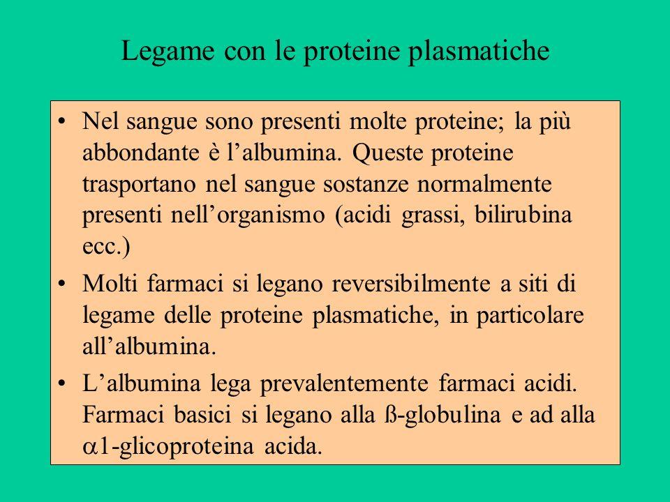 Legame con le proteine plasmatiche Nel sangue sono presenti molte proteine; la più abbondante è lalbumina. Queste proteine trasportano nel sangue sost