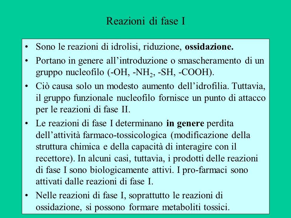 Reazioni di fase I Sono le reazioni di idrolisi, riduzione, ossidazione. Portano in genere allintroduzione o smascheramento di un gruppo nucleofilo (-