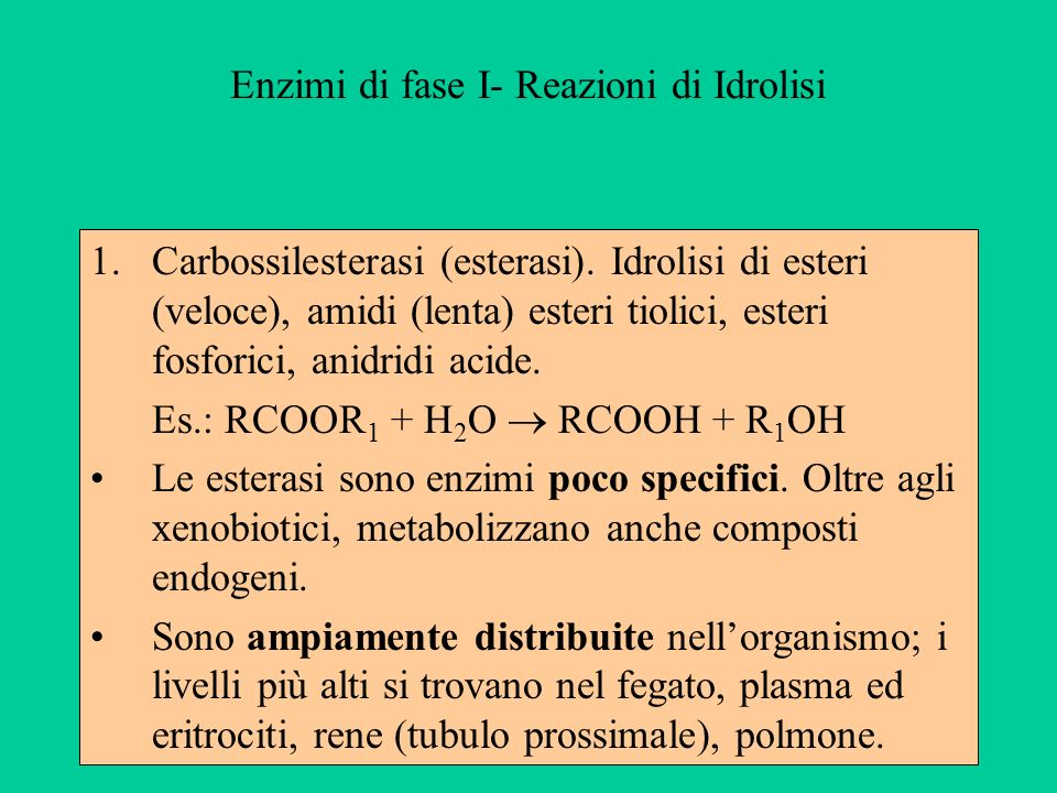 Enzimi di fase I- Reazioni di Idrolisi 1.Carbossilesterasi (esterasi). Idrolisi di esteri (veloce), amidi (lenta) esteri tiolici, esteri fosforici, an