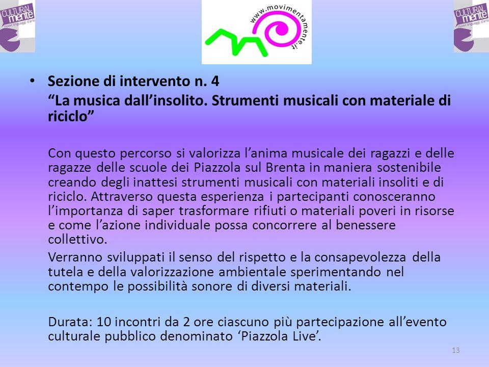 Sezione di intervento n. 4 La musica dallinsolito.