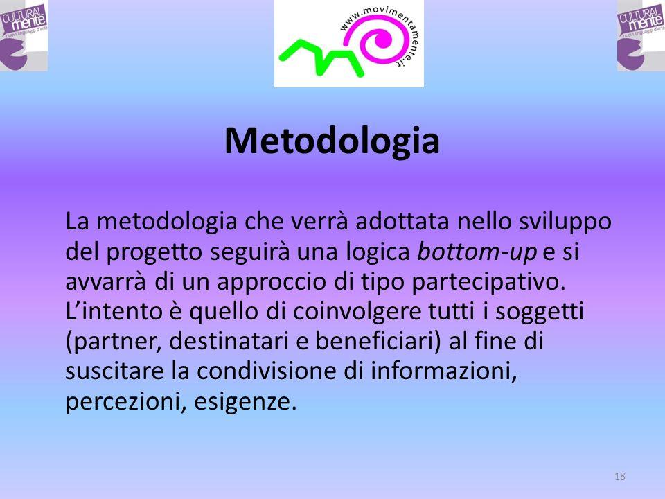 Metodologia La metodologia che verrà adottata nello sviluppo del progetto seguirà una logica bottom-up e si avvarrà di un approccio di tipo partecipativo.