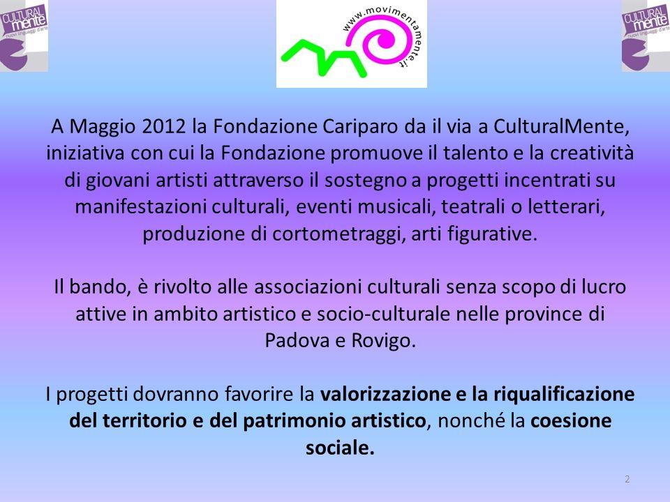 2 A Maggio 2012 la Fondazione Cariparo da il via a CulturalMente, iniziativa con cui la Fondazione promuove il talento e la creatività di giovani artisti attraverso il sostegno a progetti incentrati su manifestazioni culturali, eventi musicali, teatrali o letterari, produzione di cortometraggi, arti figurative.