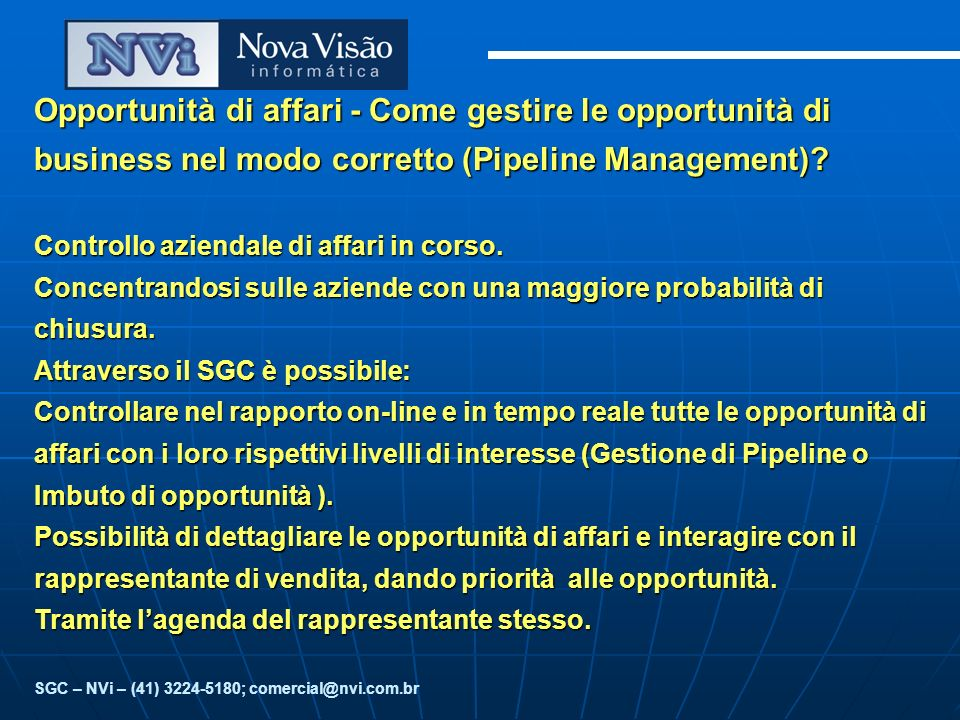 Opportunità di affari - Come gestire le opportunità di business nel modo corretto (Pipeline Management).