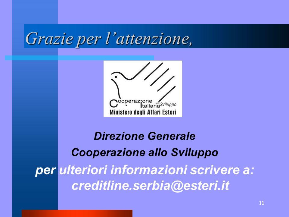 11 Grazie per lattenzione, Direzione Generale Cooperazione allo Sviluppo per ulteriori informazioni scrivere a: creditline.serbia@esteri.it