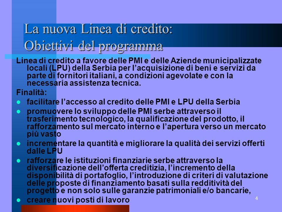 4 La nuova Linea di credito: Obiettivi del programma Linea di credito a favore delle PMI e delle Aziende municipalizzate locali (LPU) della Serbia per lacquisizione di beni e servizi da parte di fornitori italiani, a condizioni agevolate e con la necessaria assistenza tecnica.