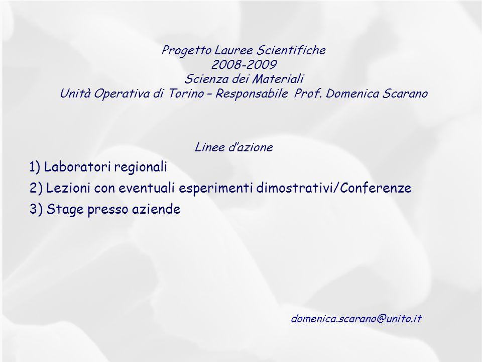 Progetto Lauree Scientifiche 2008-2009 Scienza dei Materiali Unità Operativa di Torino – Responsabile Prof. Domenica Scarano Linee dazione 1) Laborato