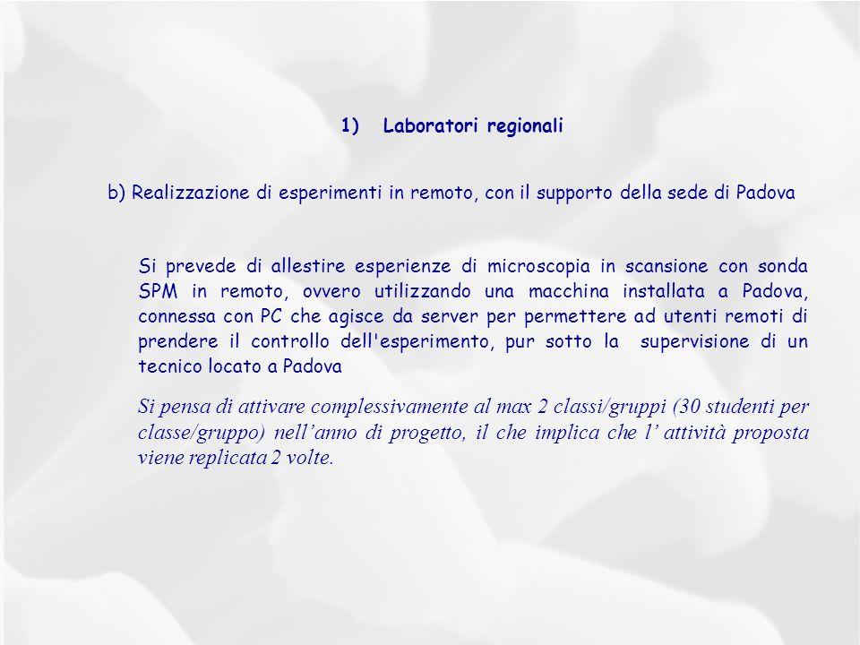 1)Laboratori regionali b) Realizzazione di esperimenti in remoto, con il supporto della sede di Padova Si prevede di allestire esperienze di microscop