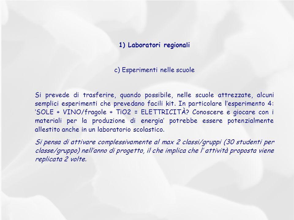 1) Laboratori regionali c) Esperimenti nelle scuole Si prevede di trasferire, quando possibile, nelle scuole attrezzate, alcuni semplici esperimenti che prevedano facili kit.
