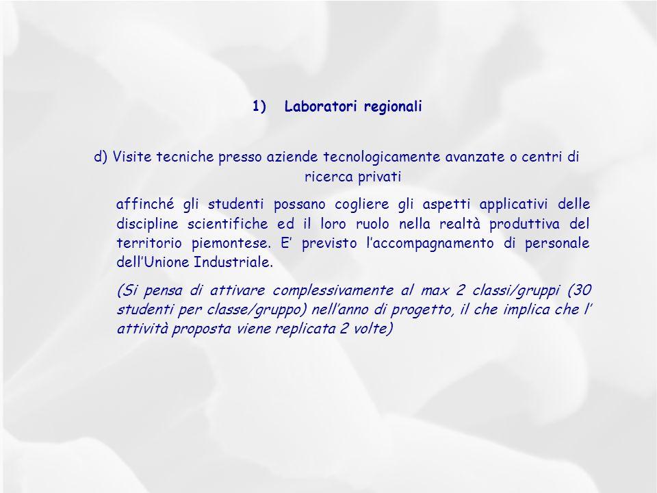 1)Laboratori regionali d) Visite tecniche presso aziende tecnologicamente avanzate o centri di ricerca privati affinché gli studenti possano cogliere