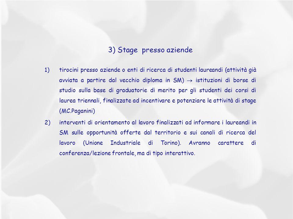 3) Stage presso aziende 1)tirocini presso aziende o enti di ricerca di studenti laureandi (attività già avviata a partire dal vecchio diploma in SM) istituzioni di borse di studio sulla base di graduatorie di merito per gli studenti dei corsi di laurea triennali, finalizzate ad incentivare e potenziare le attività di stage (MC.Paganini) 2)interventi di orientamento al lavoro finalizzati ad informare i laureandi in SM sulle opportunità offerte dal territorio e sui canali di ricerca del lavoro (Unione Industriale di Torino).