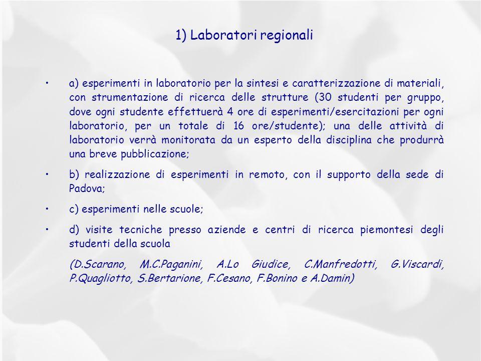 1) Laboratori regionali a) esperimenti in laboratorio per la sintesi e caratterizzazione di materiali, con strumentazione di ricerca delle strutture (