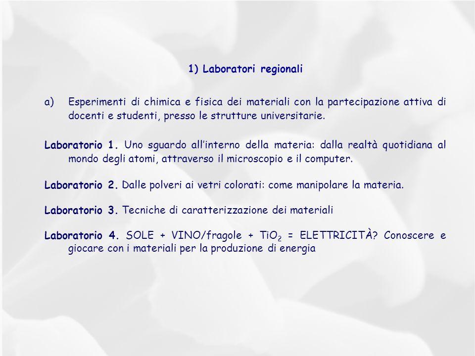 1) Laboratori regionali a)Esperimenti di chimica e fisica dei materiali con la partecipazione attiva di docenti e studenti, presso le strutture universitarie.