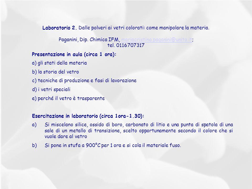 Laboratorio 2. Dalle polveri ai vetri colorati: come manipolare la materia. Paganini, Dip. Chimica IFM, mariacristina.paganini@unito.it;mariacristina.