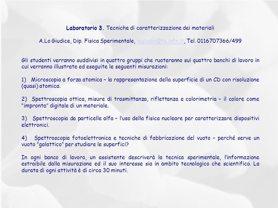 Laboratorio 3. Tecniche di caratterizzazione dei materiali A.Lo Giudice, Dip. Fisica Sperimentale, logiudic@to.infn.it, Tel. 0116707366/499logiudic@to