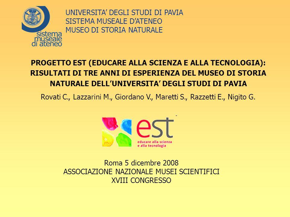 Roma 5 dicembre 2008 ASSOCIAZIONE NAZIONALE MUSEI SCIENTIFICI XVIII CONGRESSO UNIVERSITA DEGLI STUDI DI PAVIA SISTEMA MUSEALE DATENEO MUSEO DI STORIA NATURALE PROGETTO EST (EDUCARE ALLA SCIENZA E ALLA TECNOLOGIA): RISULTATI DI TRE ANNI DI ESPERIENZA DEL MUSEO DI STORIA NATURALE DELLUNIVERSITA DEGLI STUDI DI PAVIA Rovati C., Lazzarini M., Giordano V., Maretti S., Razzetti E., Nigito G.