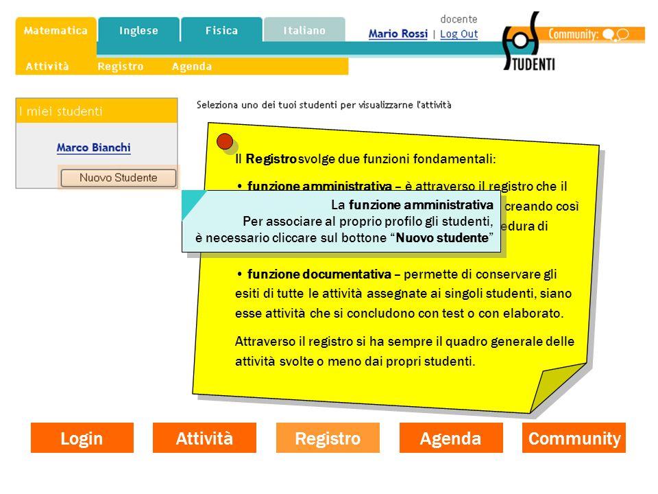 Il Registro svolge due funzioni fondamentali: funzione amministrativa – è attraverso il registro che il docente associa al proprio profilo gli student