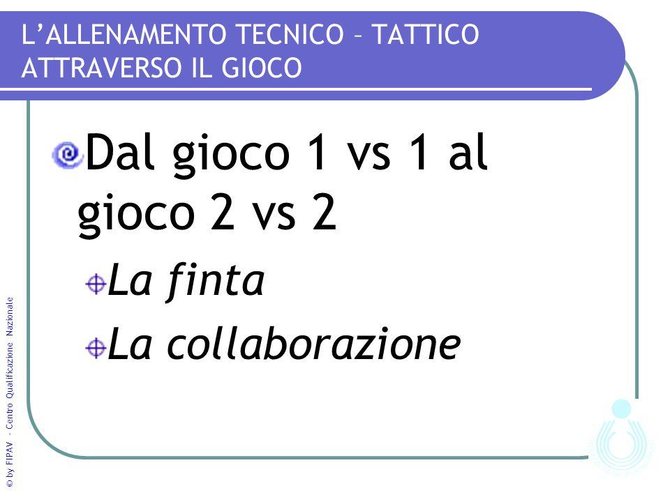 © by FIPAV - Centro Qualificazione Nazionale LALLENAMENTO TECNICO – TATTICO ATTRAVERSO IL GIOCO Dal gioco 1 vs 1 al gioco 2 vs 2 La finta La collaborazione