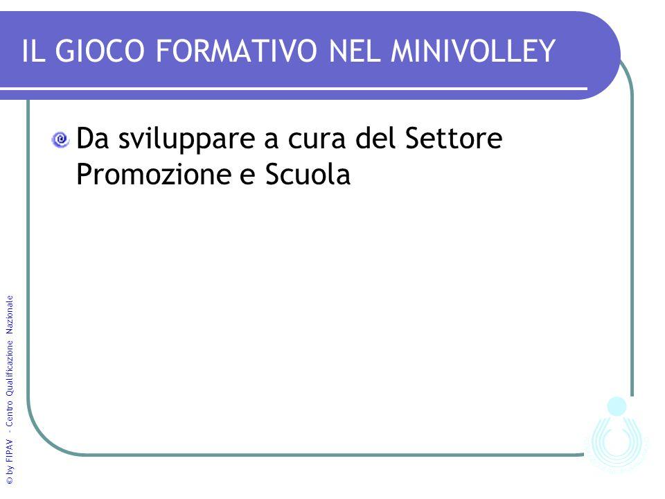 © by FIPAV - Centro Qualificazione Nazionale IL GIOCO FORMATIVO NEL MINIVOLLEY Da sviluppare a cura del Settore Promozione e Scuola