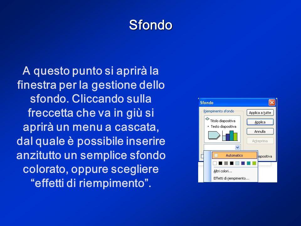 Sfondo Per inserire uno sfondo personalizzato è sufficiente andare al menu Formato Sfondo.