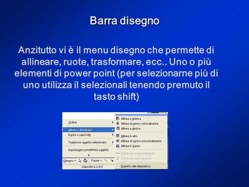 Barra disegno Molto importante per lavorare su power point è lutilizzo della barra disegno posta in basso nella finestra attiva