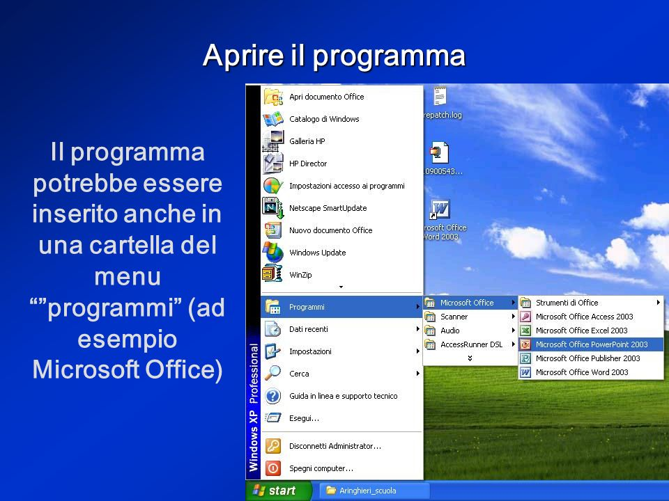 Aprire il programma Il programma Power Point serve per creare presentazioni. Si apre dal menu start programmi o con licona sul desktop